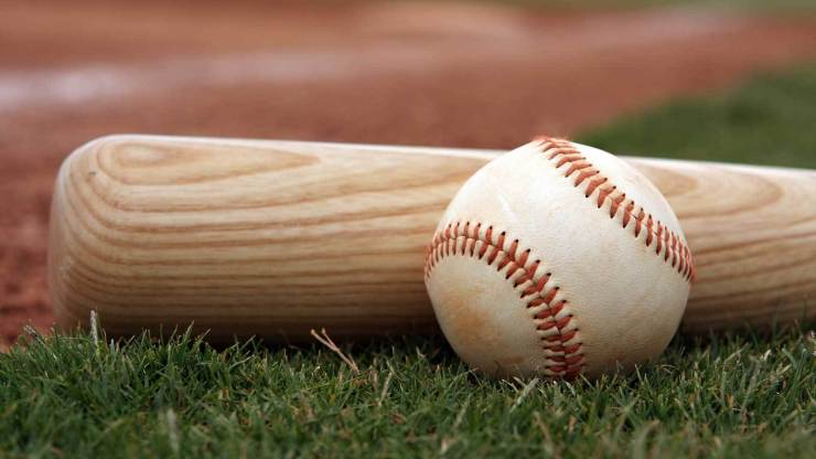 Baseball and Bat on the Field